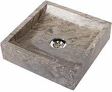 WOHNFREUDEN Marmor Naturstein-Aufsatzwaschbecken ✓ PERHAU 30x30x8 cm grau eckig ✓ Bad Gäste WC