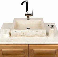 WOHNFREUDEN Marmor Naturstein-Aufsatzwaschbecken 48x38x12cm creme eckig Gäste WC