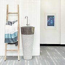 WOHNFREUDEN Marmor Stand-Waschbecken TULIP 45 x 80