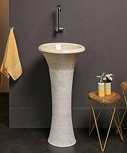 WOHNFREUDEN Marmor Stand-Waschbecken TULIP