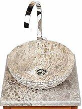 wohnfreuden Marmor Waschbecken 33 cm grau-Creme