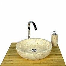 wohnfreuden Marmor Waschbecken 40 cm ✓ groß