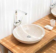 wohnfreuden Marmor Waschbecken 45 cm ✓ rund