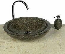 WOHNFREUDEN Marmor Waschbecken 45 cm ✓ rund poliert schwarz ✓ Naturstein Waschplatz Handwaschbecken Steinwaschschale Naturstein-Aufsatzwaschbecken für Ihr Bad ✓ schnell & versandkostenfrei