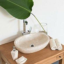 wohnfreuden Marmor - Waschbecken 45 cm Creme für