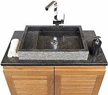 WOHNFREUDEN Marmor Waschbecken 60 cm ✓ recht-eckig schwarz ✓ Steinwaschbecken oder Naturstein-Waschbecken für Bad Gäste WC ✓ inkl. techn. Zeichnung ✓ schnell & versandkostenfrei ✓