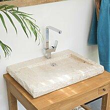 wohnfreuden Marmor Waschbecken Aufsatzbecken flach