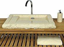 WOHNFREUDEN Marmor Waschbecken KOTAK ✓ 70 cm recht-eckig poliert creme ✓ ideal als Steinwaschbecken oder Naturstein Aufsatzwaschbecken für Bad Gäste WC ✓ inkl. techn. Zeichnung ✓ schnell & versandkostenfrei ✓