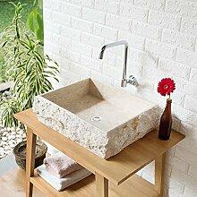 wohnfreuden Marmor Waschbecken KOTAK 50 cm ✓