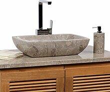 WOHNFREUDEN Marmor Waschbecken MARA 50 cm grau ✓ Naturstein Waschschale Handwaschbecken rechteckig gehämmert für Bad Gäste WC ✓ inkl. techn. Zeichnung ✓ schnell & versandkostenfrei ✓