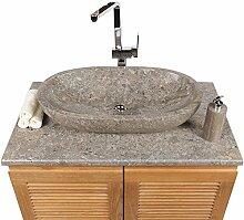 WOHNFREUDEN Marmor Waschbecken MARA 70 cm ✓ oval poliert grauz ✓ Naturstein Waschplatz Handwaschbecken Steinwaschschale Naturstein-Aufsatzwaschbecken für Ihr Bad ✓ schnell & versandkostenfrei