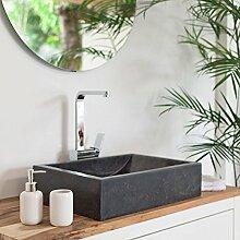 WOHNFREUDEN Marmor Waschbecken PERAHU 50 cm anthrazit rechteckig ✓ Naturstein Waschschale Handwaschbecken poliert für Bad Gäste WC ✓ inkl. techn. Zeichnung ✓ schnell & versandkostenfrei ✓