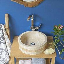 wohnfreuden Marmor Waschbecken rund 40 cm ✓