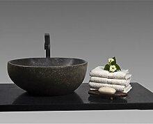 WOHNFREUDEN n Naturstein Waschbecken 40 cm RUND ✓ Stein-Aufsatzwaschbecken für Gäste WC Bad ✓ einzeln fotografiert + Auswahl Steinwaschbecken aus Bildergalerie ✓ versandkostenfrei ✓