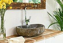 WOHNFREUDEN Natur-Stein-Aufsatz-Waschbecken 60 cm OVAL gerader Rückwand Gäste WC