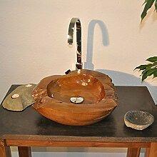 Wohnfreuden Natur Teakholz-Waschbecken Waschschale Waschtisch Ø 45 cm - lasiert braun