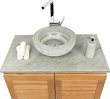 Wohnfreuden Naturstein Sandstein Aufsatz-Waschbecken Waschschale Handwaschbecken rund 40 cm grün grau