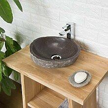 wohnfreuden Naturstein Waschbecken 30 cm oval mit