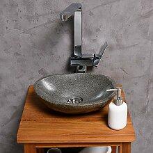 WOHNFREUDEN Naturstein Waschbecken 30 cm [oval rund] Stein Aufsatzwaschbecken für Gäste WC Bad ✓ einzeln fotografiert + Auswahl Steinwaschbecken aus Bildergalerie ✓ schnell & versandkostenfrei ✓