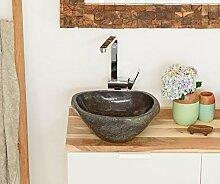 WOHNFREUDEN Naturstein Waschbecken 40 cm ✓ Stein Aufsatzwaschbecken rund oval für Gäste WC Bad ✓ einzeln fotografiert + Auswahl Steinwaschbecken aus Bildergalerie ✓ versandkostenfrei ✓