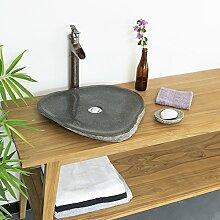 Wohnfreuden Naturstein - Waschbecken 50-60 cm extra flach ✓ Schönes Waschbecken aus Stein für Ihr Bad Gäste WC   Versandkostenfrei ✓