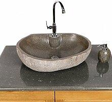 WOHNFREUDEN   Naturstein-Waschbecken 60 cm oval mit gerader Rückwand   Steinwaschbecken   Waschbecken aus Stein   Stein Waschbecken für Gäste WC Bad ✓