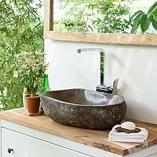 wohnfreuden Naturstein Waschbecken aus Stein 50 cm