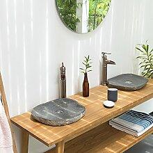 wohnfreuden Naturstein Waschbecken extraflach oval