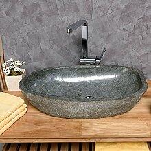 WOHNFREUDEN Naturstein Waschbecken rund oval 60 cm innen poliert ✓ Stein Aufsatzwaschbecken für Gäste WC Bad ✓ Stein-Handwaschbecken für Waschplatz ✓ schnell & versandkostenfrei ✓