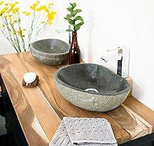 Wohnfreuden Naturstein - Waschbecken Steinwaschbecken oval 30 cm für Gäste WC Bad | Einzeln fotografiert & Auswahl aus Bildergalerie | Versandkostenfrei ✓