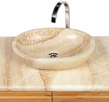 Wohnfreuden Onyx Marmor Naturstein Aufsatz-Waschbecken Waschschale oval 50 cm creme