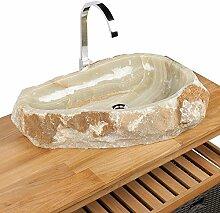 WOHNFREUDEN Onyx Steinwaschbecken 64x48x14 cm rund Marmor Waschbecken Bad WC