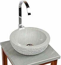 wohnfreuden Sandstein Aufsatz-Waschbecken 30x12 cm