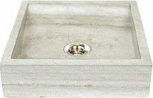 Wohnfreuden Sandstein Aufsatz-Waschbecken mini Perahu 30 cm ✓ grau rechteckig gehämmert Bad Gäste WC ✓ Handwaschbecken Waschschale Aufsatzwaschbecken für Bad Gäste WC