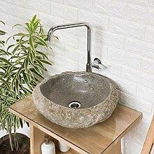 wohnfreuden Stein-Waschbecken mit Naturkante-Rand
