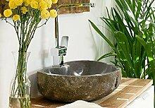 Wohnfreuden Steinwaschbecken Naturstein Waschbecken rund oval 50 cm   Waschbecken aus Stein sind einzeln fotografiert   Versandkostenfrei ✓