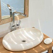 wohnfreuden Terrazzo Aufsatz-Waschbecken 60x40x12