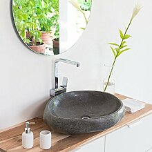 wohnfreuden Waschbecken aus Stein natürlich ca 60