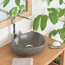 Wohnfreuden Waschbecken aus Stein Steinwaschbecken 30 cm oval rund Naturstein Aufsatzwaschbecken für Gäste WC   Versandkostenfrei ✓