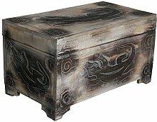 Wohnkult Holz Truhe Gecko Schatztruhe 60 cm Kiste