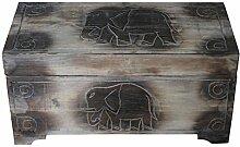 Wohnkult Holz Truhe Schatztruhe Elefant 50 cm