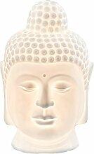 Wohnkultur Buddha Kopf Deko-Lampe, weiß aus Porzellan (23 cm Höhe)