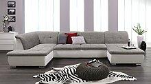Wohnlandschaft, Couchgarnitur XXL Sofa, U-Form, weiss/grau, Ottomane links