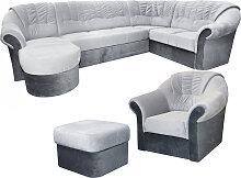 Wohnlandschaft-Set Calimero 1 mit Staukasten und Bettfunktion inkl. Sessel und Hocker - Staukasten: Links