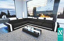 WOHNLANDSCHAFT SOFA IMPERIAL STOFFSOFA CORNER mit LED Beleuchtung NATIVO© Sofa Couch Wohnlandschaft Ottomane variabel