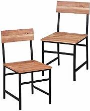 Wohnling 2er Set Esszimmerstühle GAYA Holz Massiv Akazie, Landhaus-Stil Stuhlgruppe Echtholz, 2x Barock Esszimmerstuhl 4 Metallbeine, Küchen-Stühle Essgruppe Natur- Esszimmer-Möbel