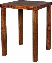 WOHNLING Bartisch Massivholz Sheesham 80 x 80 x 110 cm Bistro-Tisch modern Landhaus-Stil Holz-Steh-Tisch quadratisch dunkel-braun Natur-Produkt Massiv-Holz-Möbel Hausbar Esstisch Echt-Holz unbehandel