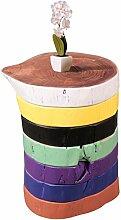 Wohnling Beistelltisch DOLVI Voll-Holz Akazie Holzscheiben Bunt lackiert Retro Wohnzimmer-Tisch Design Sitzhocker Couchtisch Massiv-Holz Unikat Natur-Produkt Wohnzimmer-Möbel Sitzblock farbig Echtholz