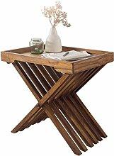 WOHNLING Beistelltisch Massivholz Sheesham Design