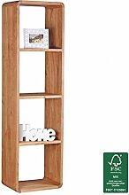 WOHNLING Bücherregal Massiv-Holz Akazie 50 x 180 cm Wohnzimmer-Regal Ablagefächer Design Landhaus-Stil Standregal Natur-Produkt Wohnzimmermöbel Unikat modern Massivholz-Möbel Echtholz Holzregal